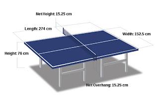 ukuran meja pingpong
