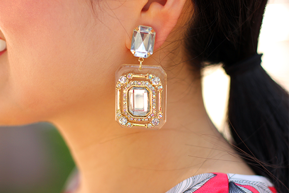 JewelMint Rectangle Jeweled Earrings