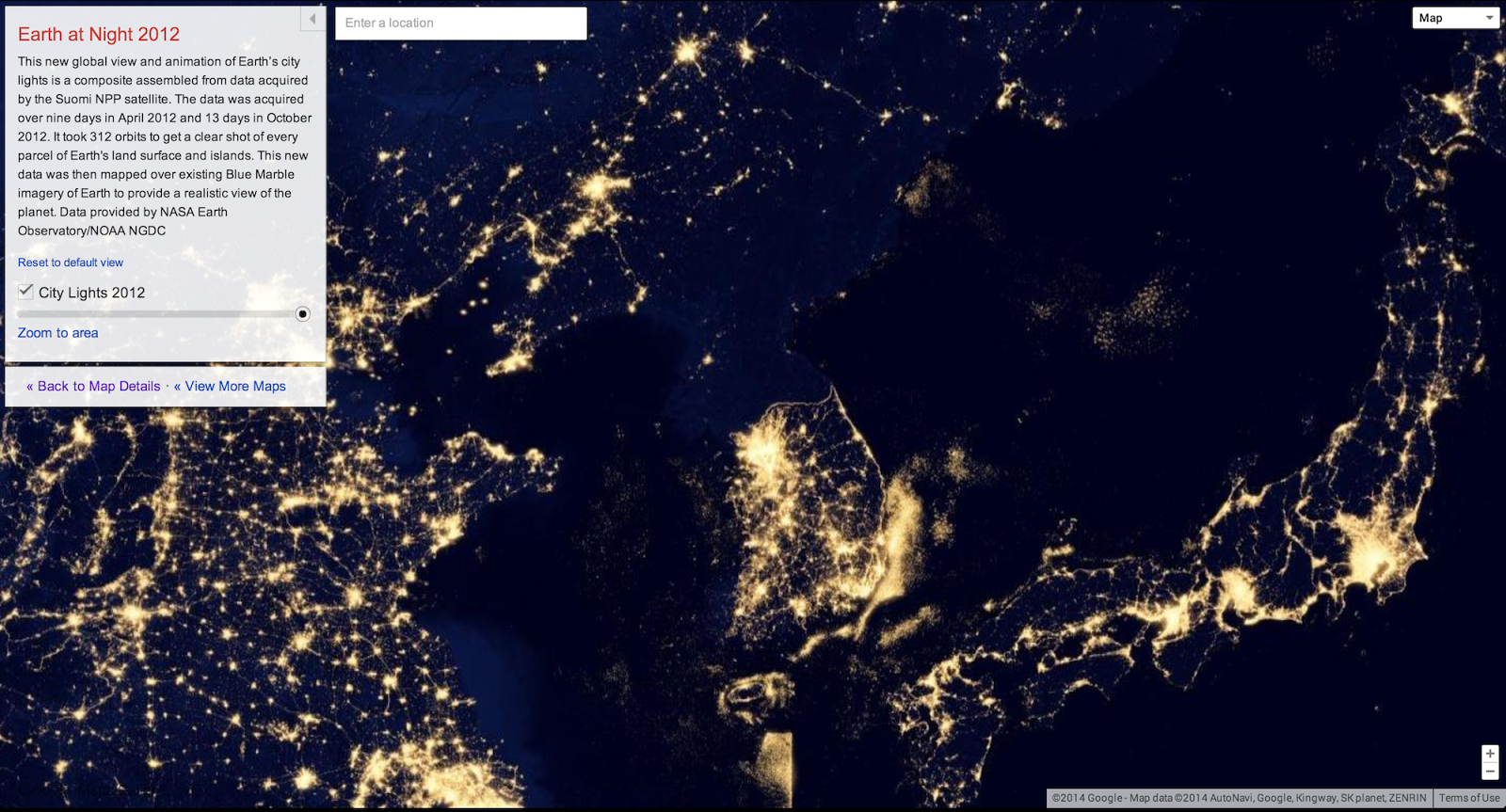 North Korea Satellite Map At Night - World satellite map 2014