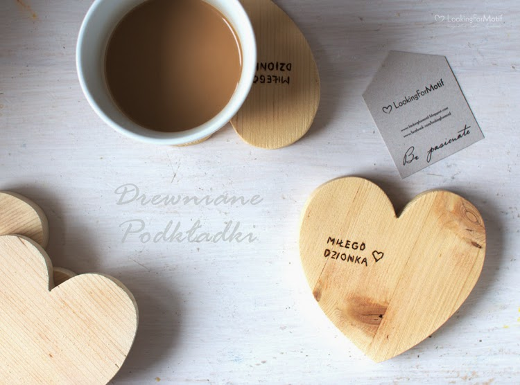 handmade, wood, miłego dzionka, drewniana podkładka, prezent