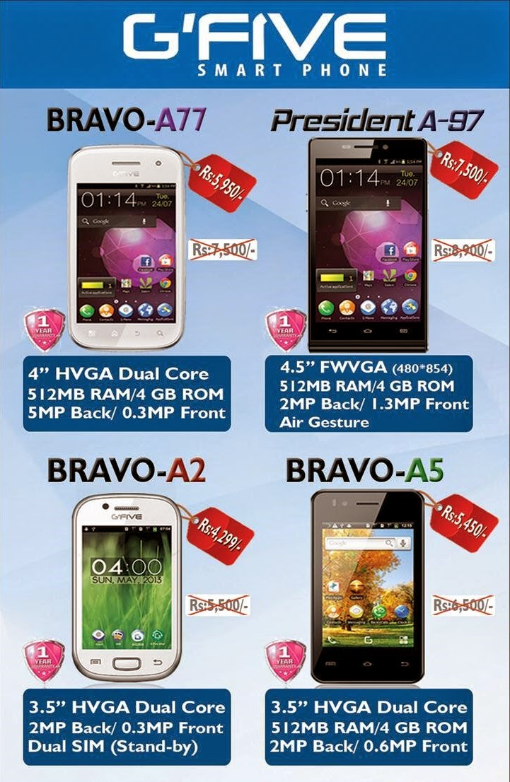 GFive Bravo and President Smart Phones