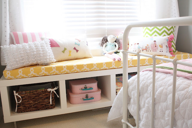 IKEA Kallax Shelf on its side as a bench with storage