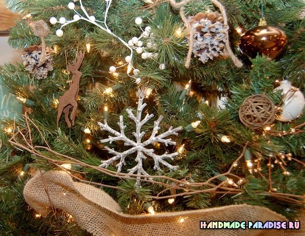 Новогодние елочные украшения из веток