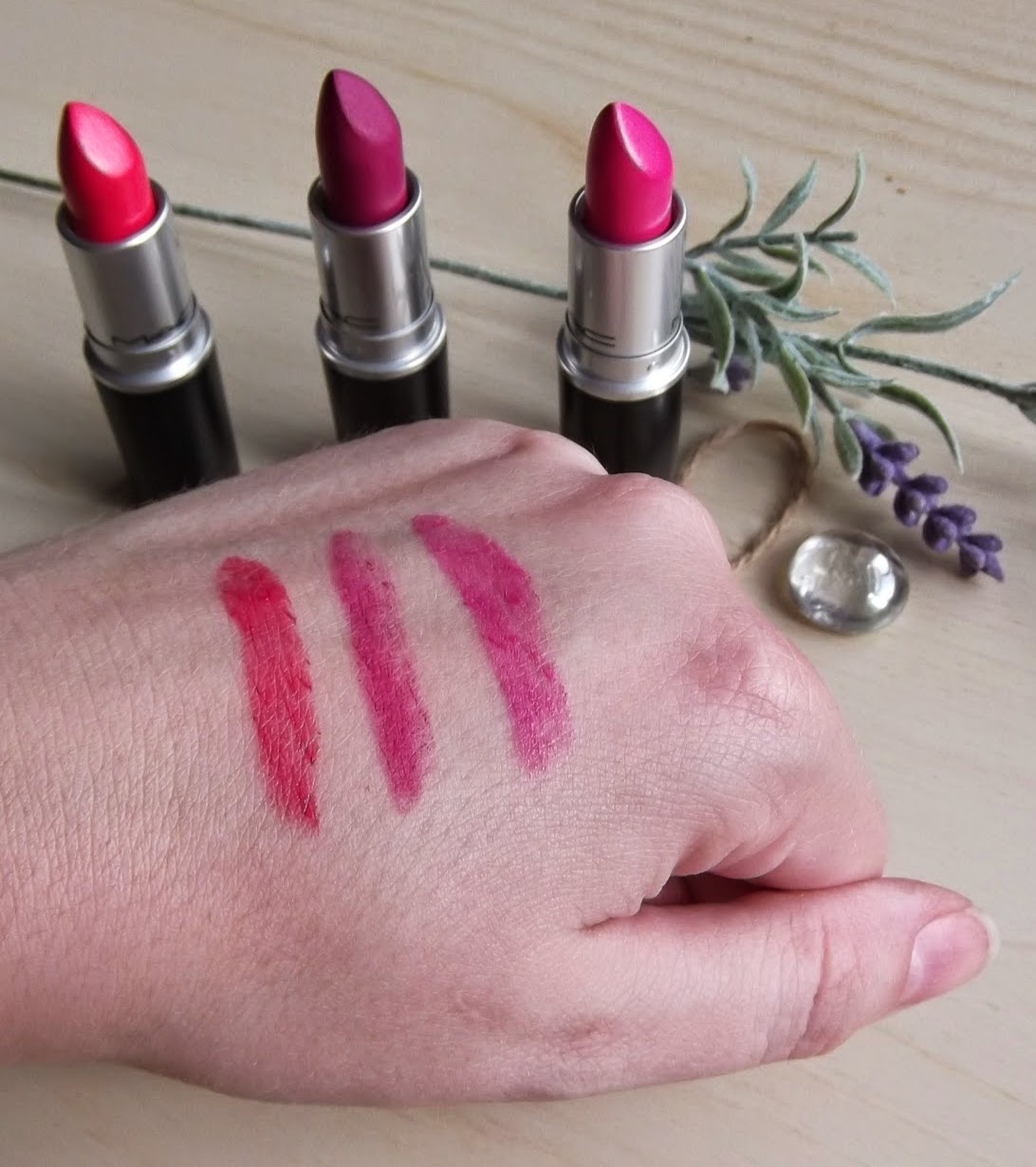 MAC lipstick impassioned happy go lucky flat out fabulous swatches