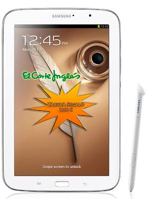 Promoción Samsung Galaxy Note 8 El Corte Inglés 100 Euros de regalo y una funda.