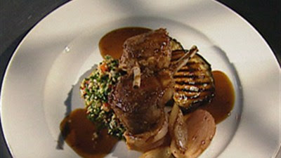 Double Lamb Cutlets, Grilled Red Onion, Eggplant And Tabbouli Recipe