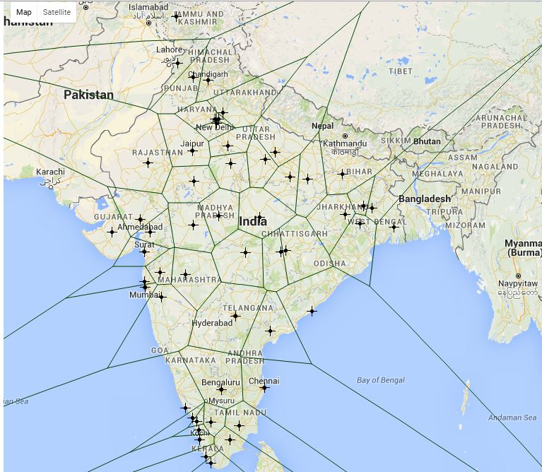 India: split by urban areas with 1,000,000+ population