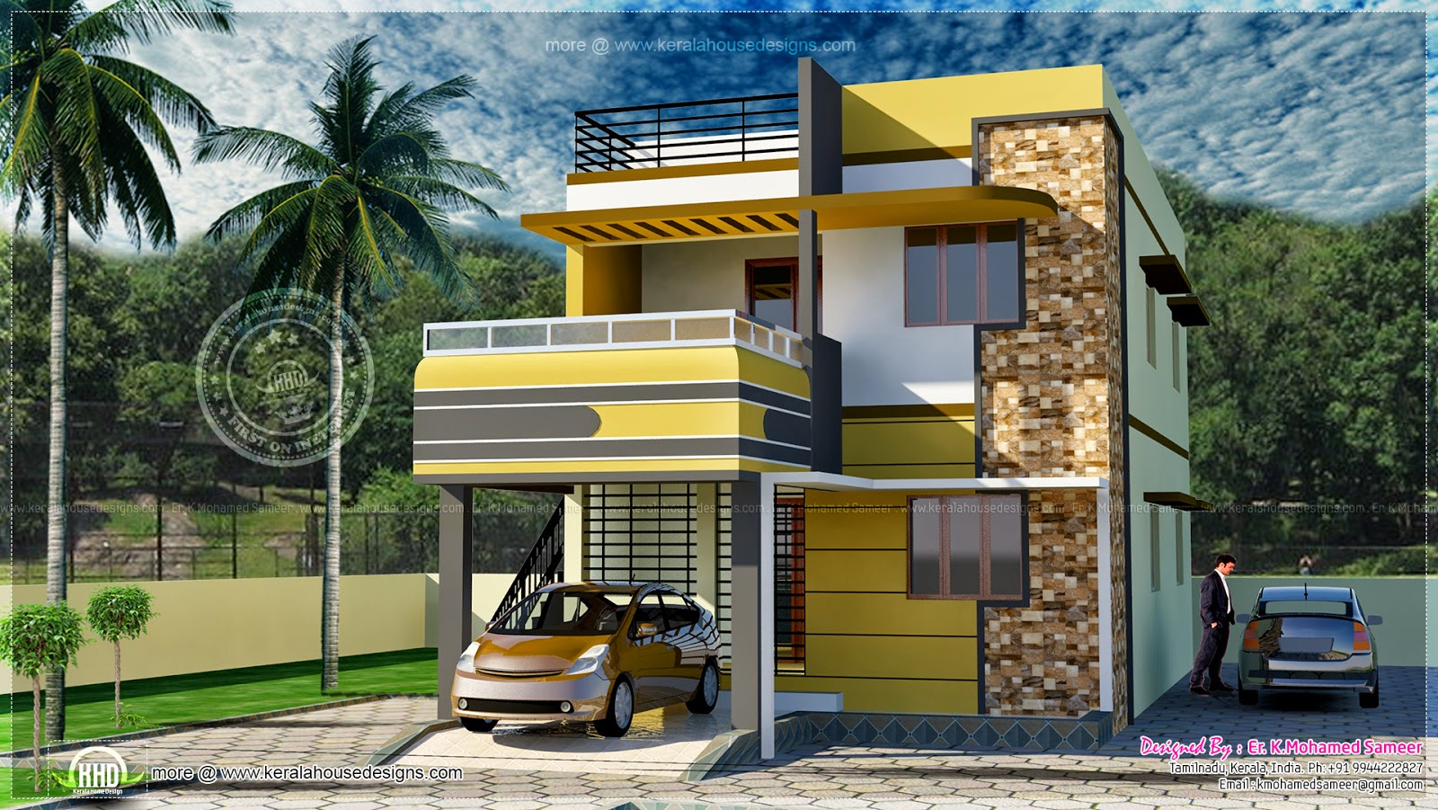 2100 square feet tamilnadu style house exterior kerala for Indian home outer design