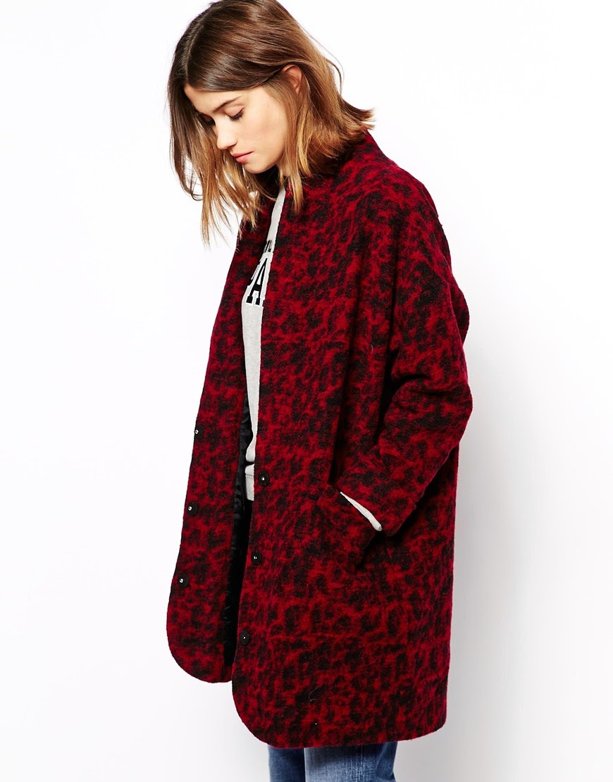 ganni red coat