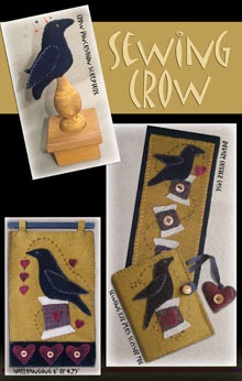 Sewing Crow 4 Wool Applique Patterns in 1.  Rotary Case, Crow Pincushion, Sewing Case & Wallhanging