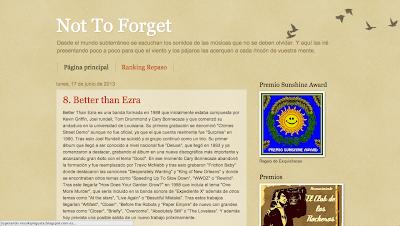 Not to forget. Blog de música donde se muestra una canción cada día o se intenta, siendo muy amplia la variedad de estilos que aparecen.