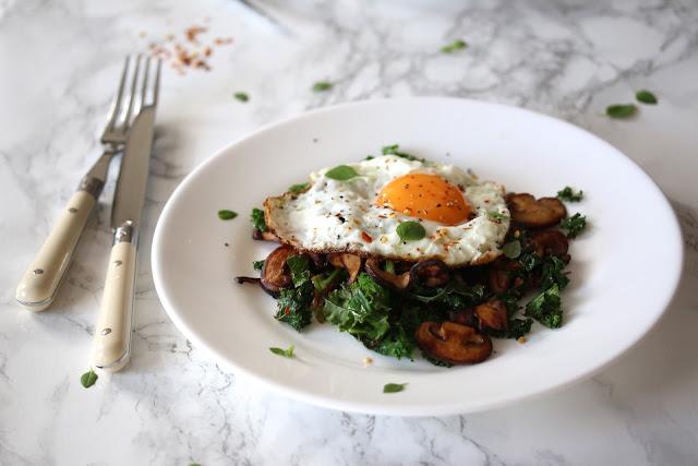 Mushroom and Kale Hash, Crispy Fried Egg and Greek Basil