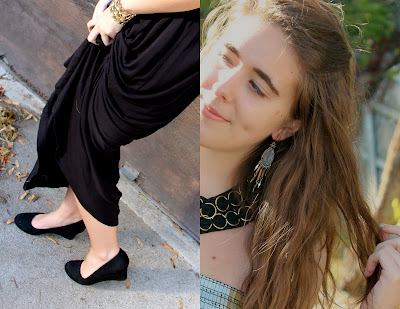 Black maxi dress with gold details.