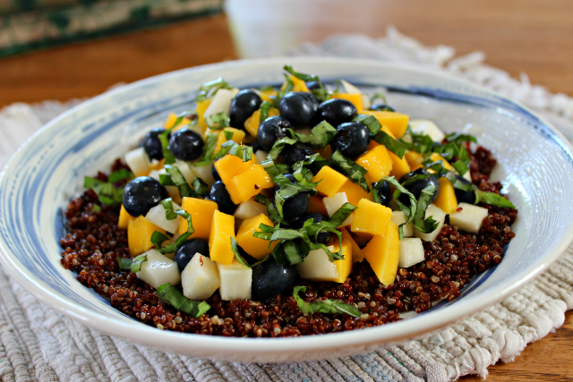 Blueberry Mango Quinoa Salad with Citrus Dressing from This Fox Kitchen