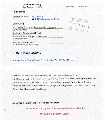 Rechtsstreit Spengemann ./. Spiegel-Verlag Rudolf Augstein GmbH & co. KG u.a.