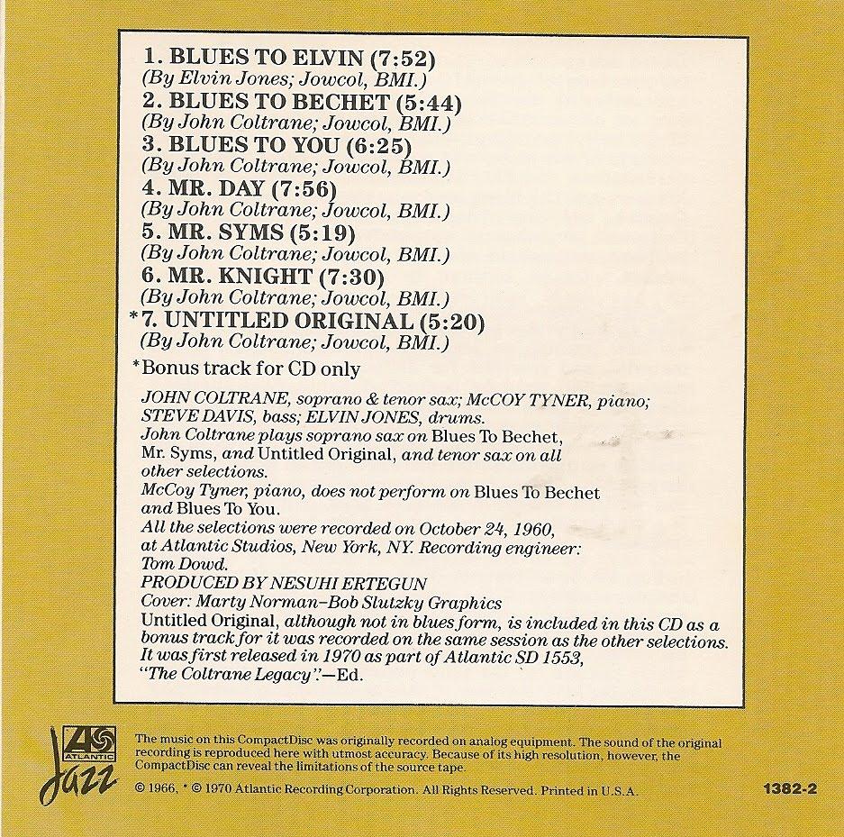 Swingville john coltrane coltrane plays the blues 1962 canciones 1 blues to elvin elvin jones 753 stopboris Image collections