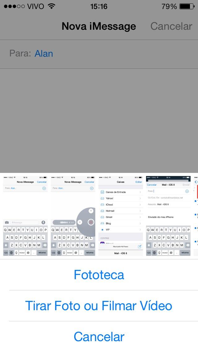 Mensagens de foto iOS 8