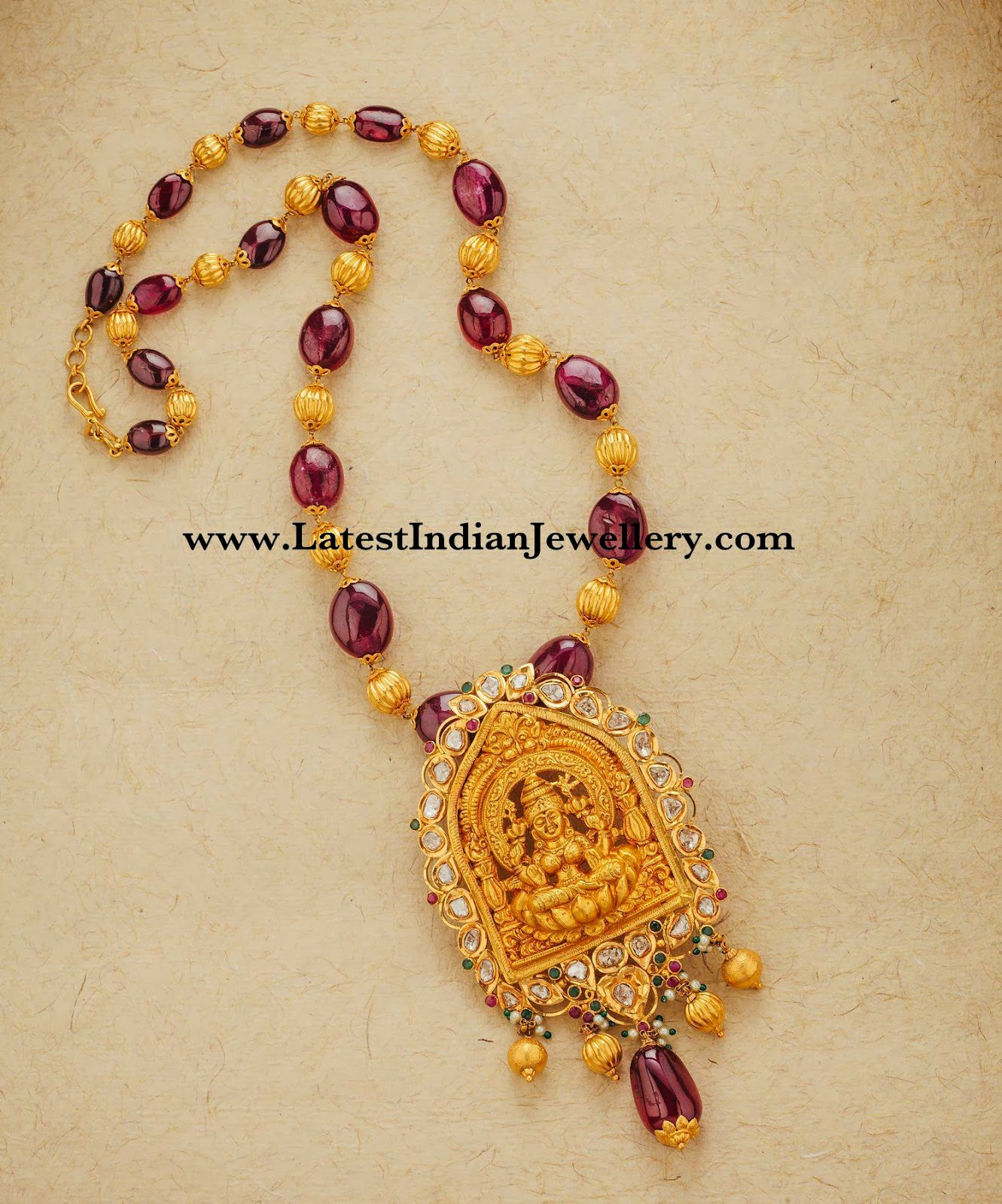 Temple Jewellery with Ruby Beads
