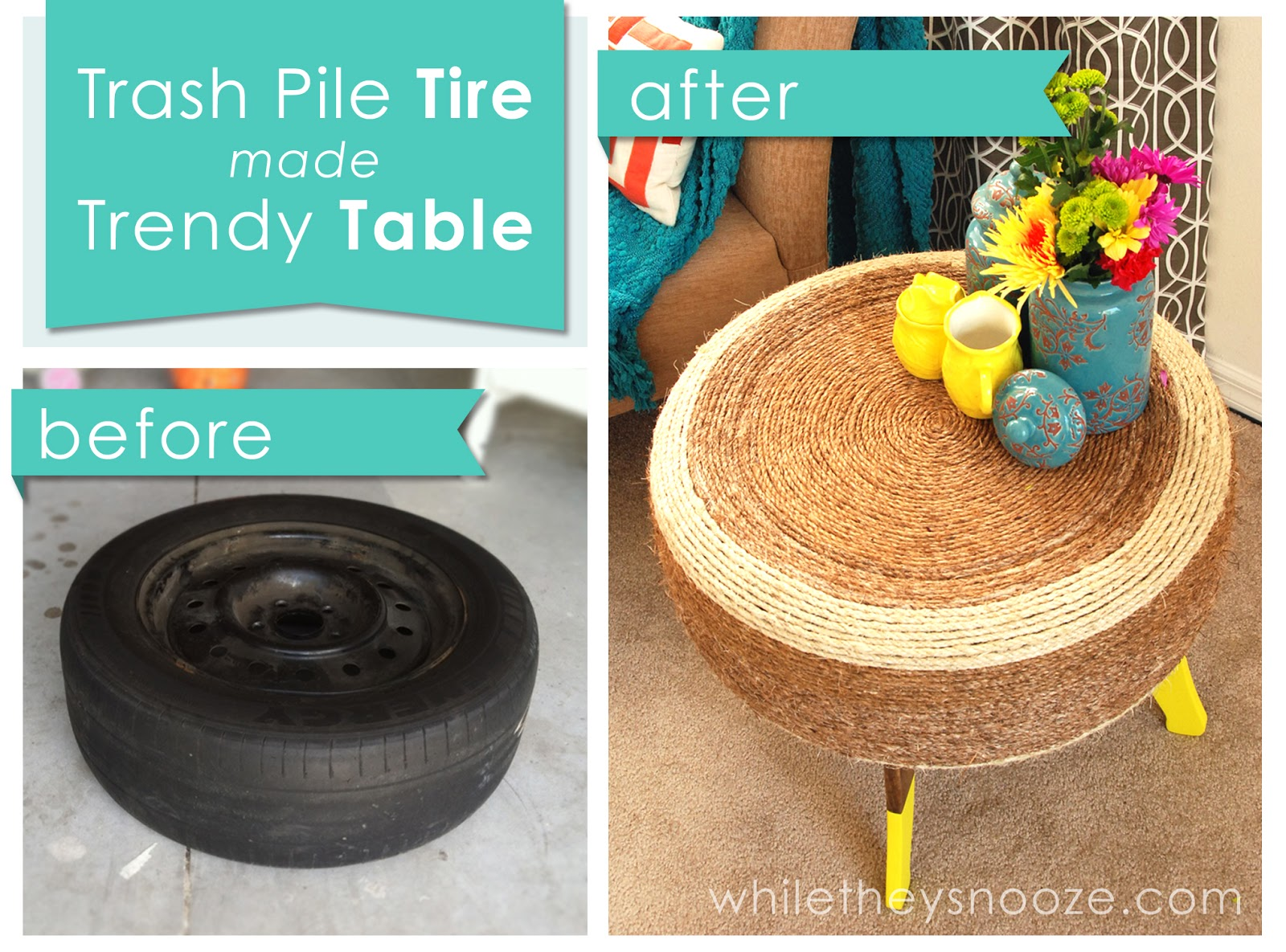 Trendy tire table while they snooze