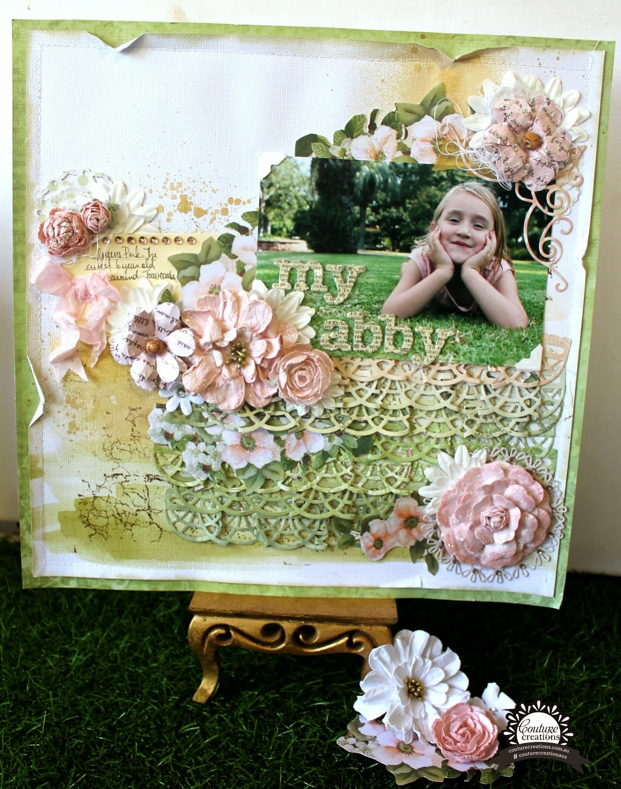 """My Abby"" layout by Bernii Miller for Couture Creations using the Vintage Rose Collection."