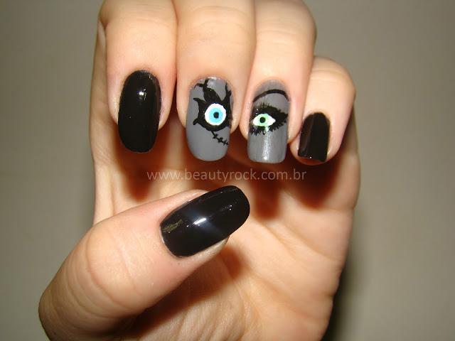 Unhas Halloween - Noiva de Chuck, nail art, terror
