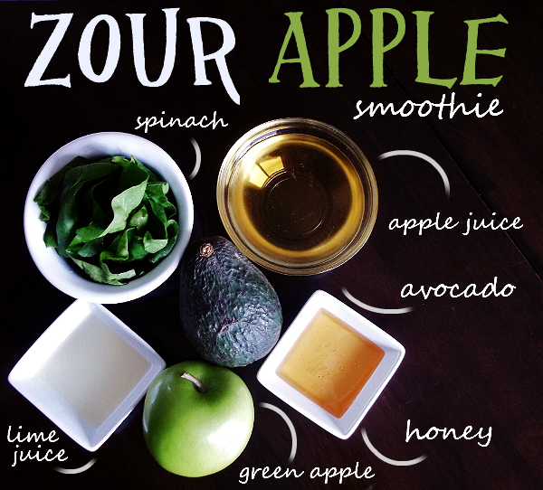 Creamy Zour Apple Smoothie you won't regret letting them drink! #Shop #ZoursFace Ingredients: 1 Ripe California Avocado (Sliced), 1 Large Granny Smith Apple (cored and chopped, not peeled), 1 Cup Rinsed Spinach, 1 Lime (Juiced),  ½ C Ice (or more if needed), 2 TSP Honey, ½ C Organic Apple Juice