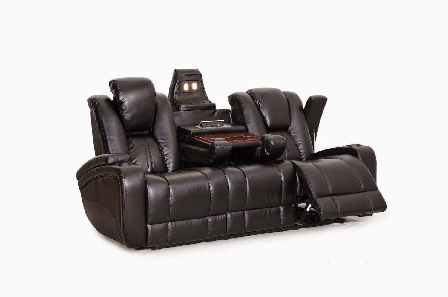 Cheap reclining sofas sale hawkeye double reclining sofa with tray table Reclining loveseat sale