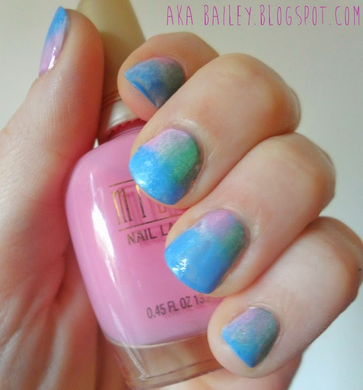 Sponged mani with spring colors