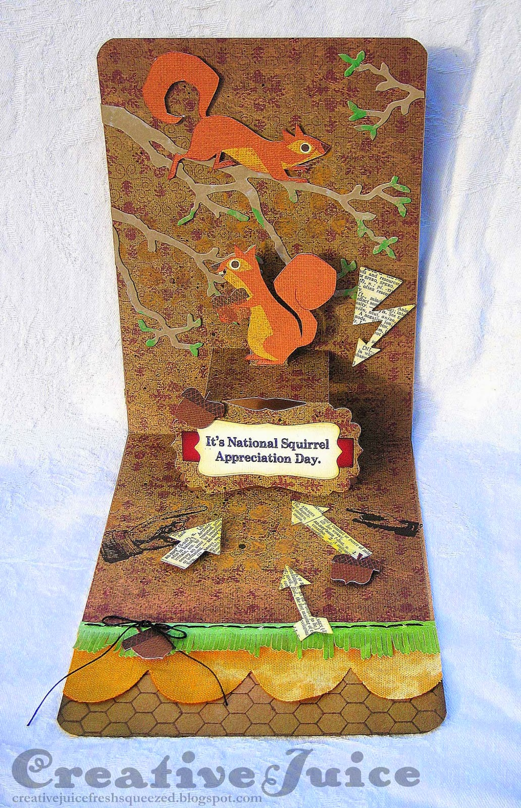 Elizabeth Craft Designs, Karen Burniston Lucy Label card for Squirrel Appreciation Day