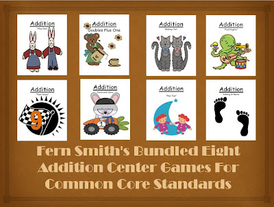 Fern Smith's Bundled Eight Addition Center Games For Common Core Standards