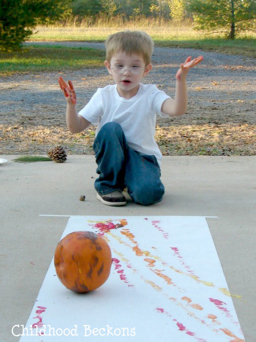 paint with pumpkins in a big way, fall activity, autumn art