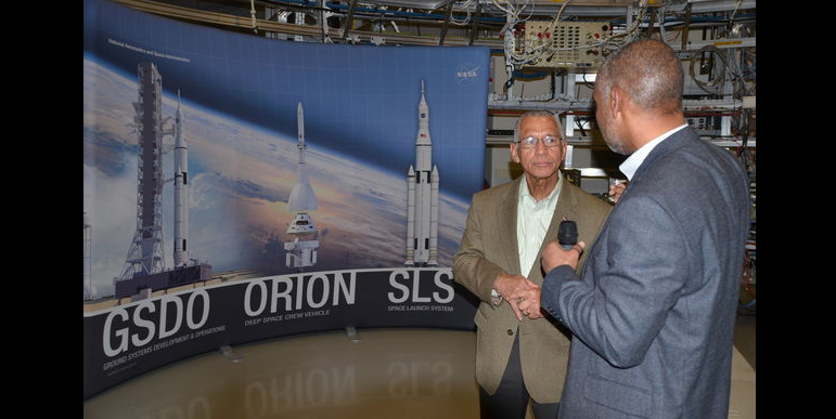 Software engineer Kurt Jackson, right, with NASA Administrator Charles Bolden in Huntsville March 14, 2014. Credit: Lee Roop/al.com