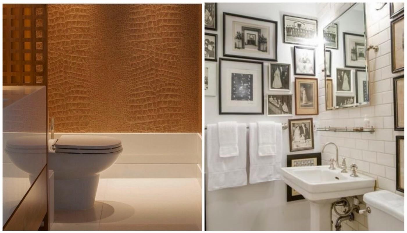 revestimento lavabo @interiordesigndecoracao e quadros no banheiro @casadachris