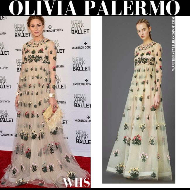 Olivia Palermo in beige floral embellished chiffon long sleeve gown Valentino pre-fall 2015 red carpet Ballet Gala may 7 what she wore chic glamour