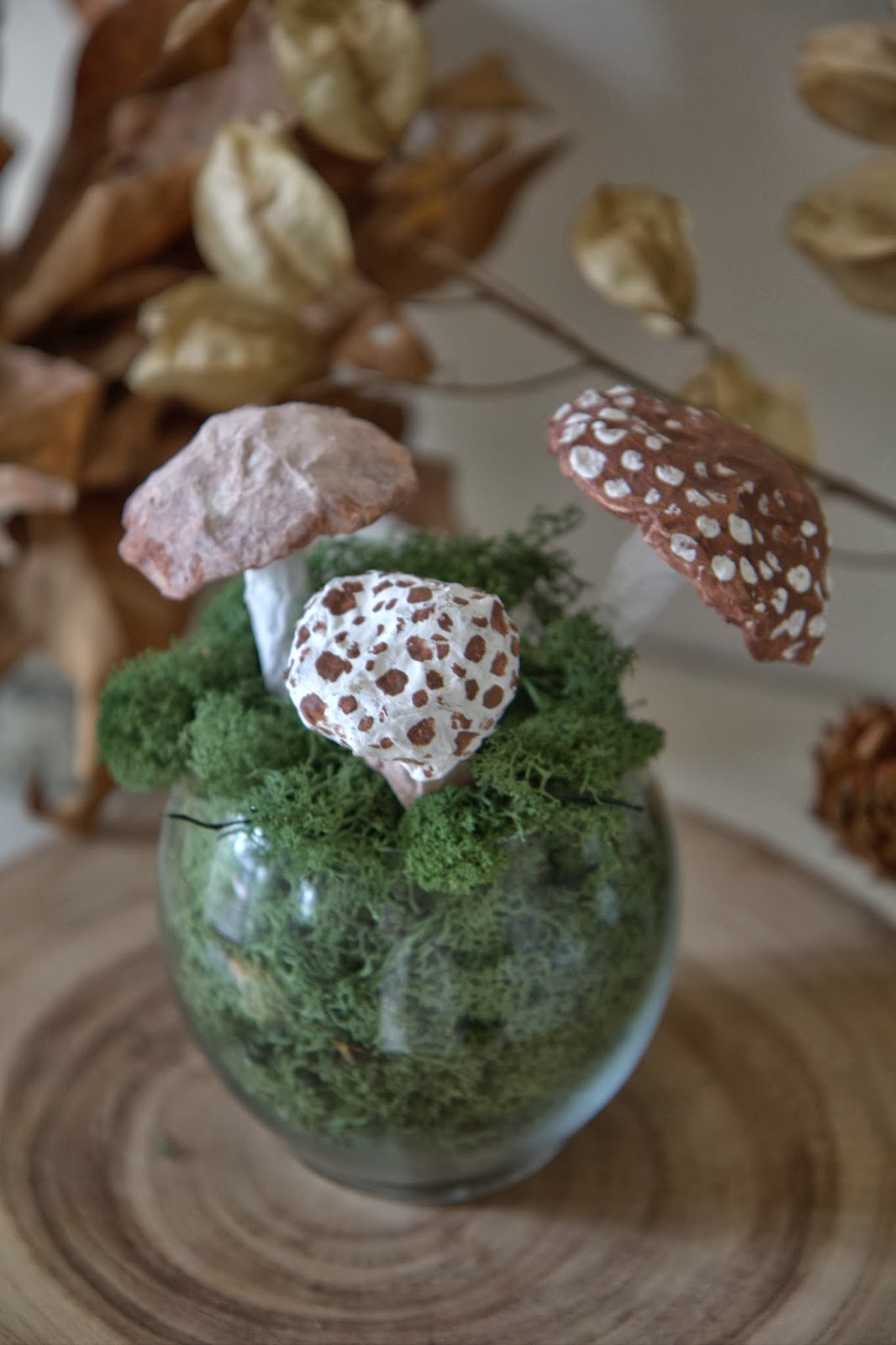 Paper Mache Mushrooms in Moss 10