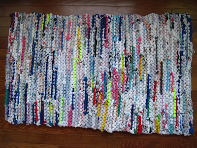 tshirt rug upcycled cottage modern brights white