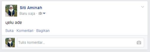 Membuat Tulisan Status Facebook Terbalik