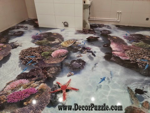 3d bathroom floor murals designs, self-leveling floors for  modern bathroom flooring ideas