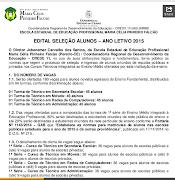 EDITAL DE MATRÍCULAS - 2015