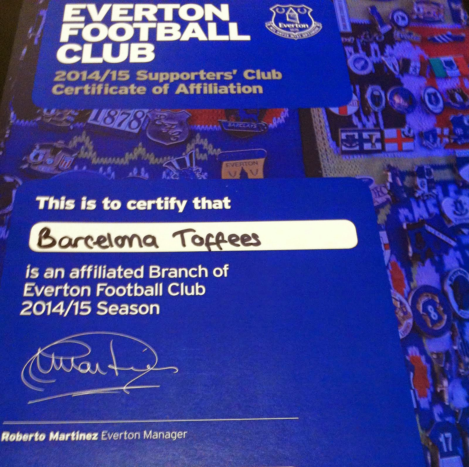 We're an affiliated Branch of Everton FC