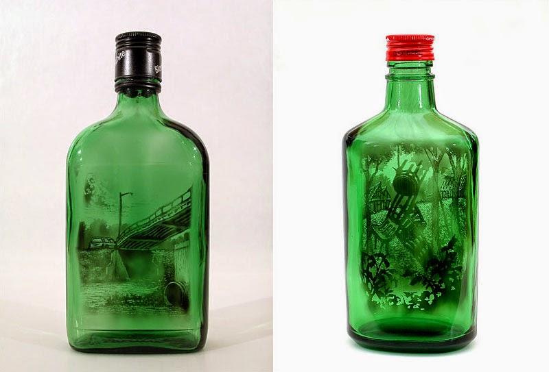 obras de arte en botellas de vidrio