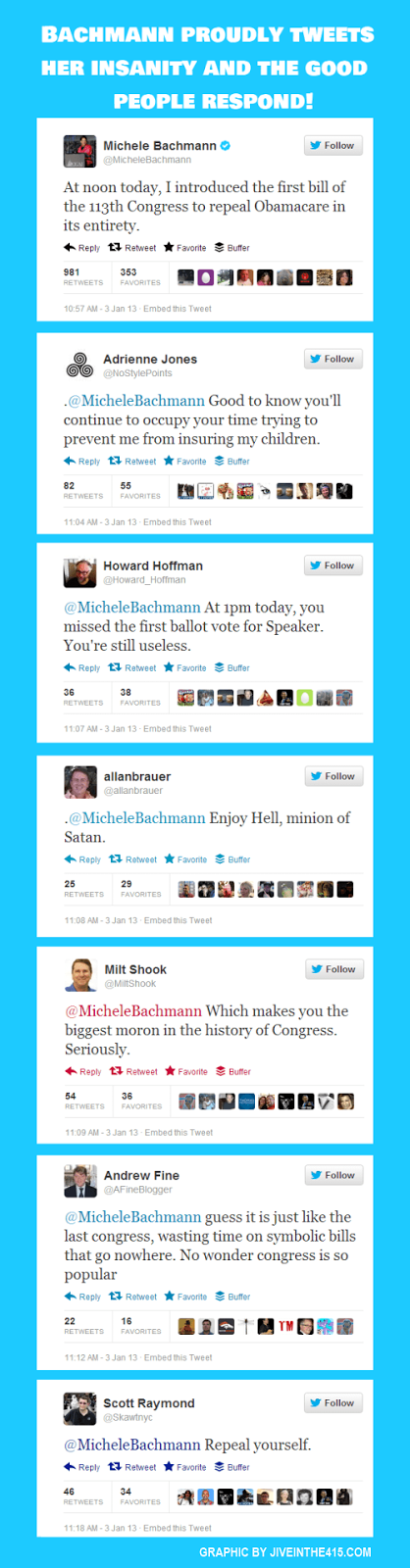 Full size graphic of Rep. Michele Bachmann's twitter insanity and the fabulous replies.