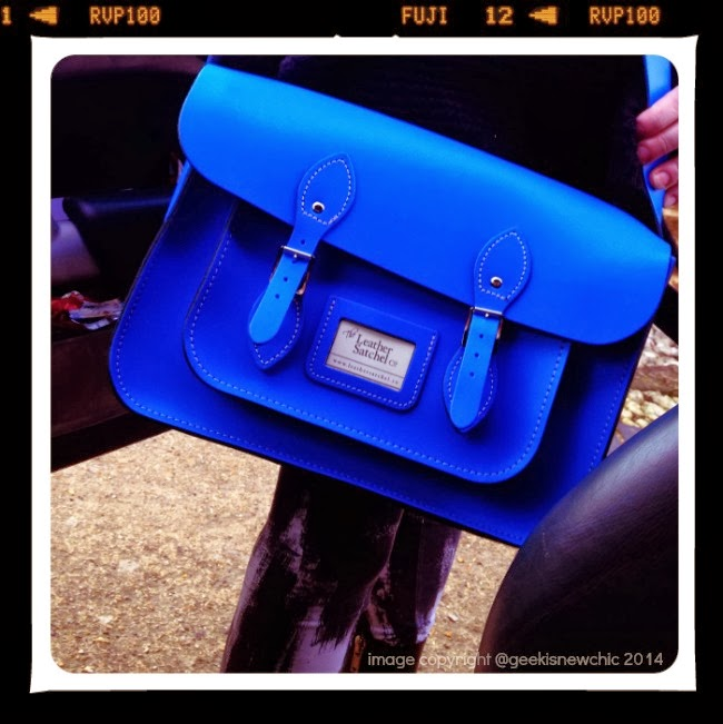 True Blue Leather Satchel I love you