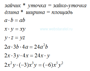 Умножение двух букв. Зайчик, умноженный на уточку, равен зайко-уточке. Математика для блондинок.