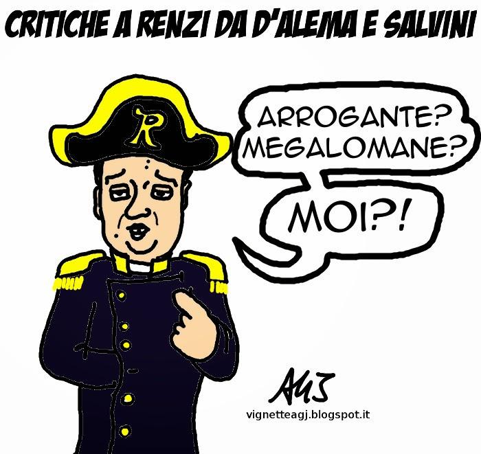 Renzi, D'Alema, Salvini, satira, vignetta