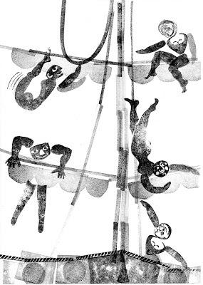 la mer, gravure Tampon de Brigitte Rio
