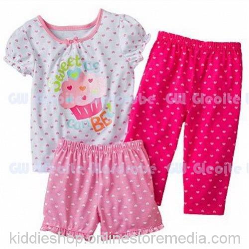 Pakaian anak pink Gleoite 1 set 3 pcs.
