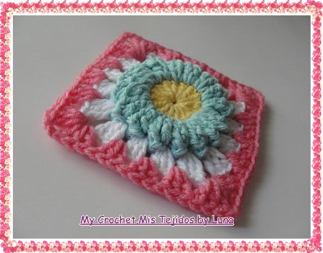 My Crochet , Mis Tejidos by Luna: Granny Puff Stitch Flower # 2