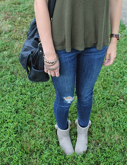 la night free people tank, suede booties, sole society boots, fringe necklace, j brand skinny jeans, hunter green tanks, trouve leather bag, michael kors tortoise shell watch