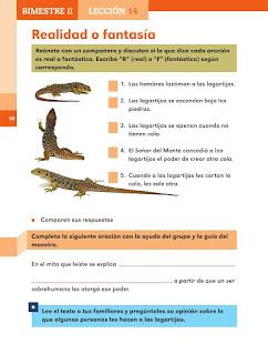 Apoyo Primaria Español 2do grado Bloque 2 lección 14 Realidad o fantasía